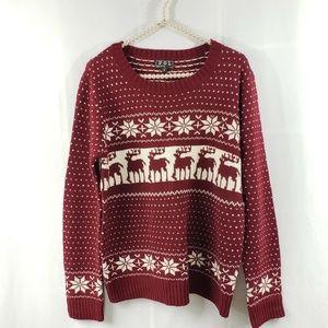 POL Reindeer Fair Isle Snowflake Christmas Sweater